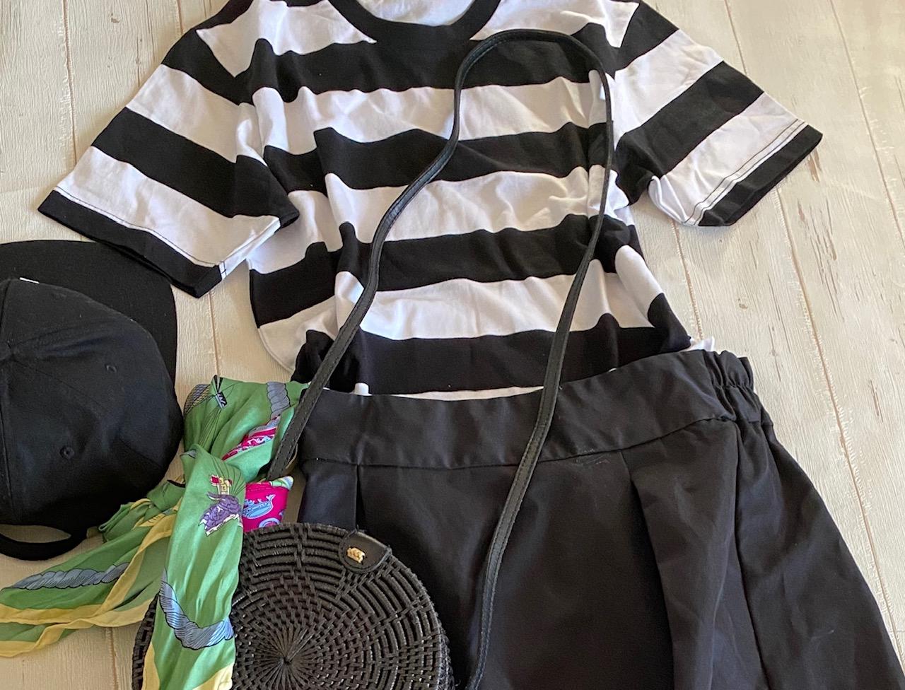 GU380円Tシャツでオードリーヘップバーン風コーデ